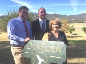 Deputy Premier of NSW, Troy Grant, Deputy Prime Minister and local MP, Barnaby Joyce, and Lucy Haslam, at the opening of the Haslam's new medicinal cannabis farm (Facebook)